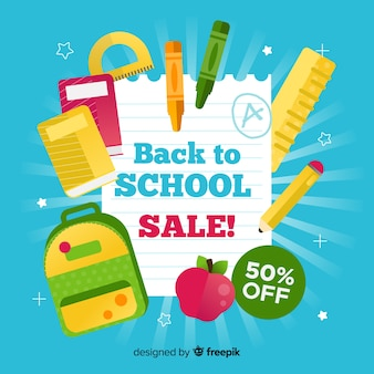 Back to school sales banner with blue background