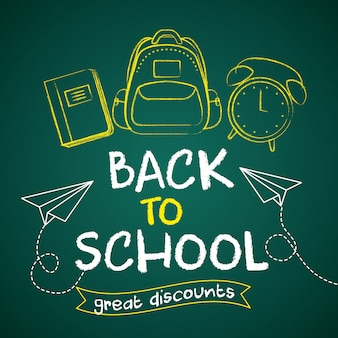 Back to school sales card with cartoons