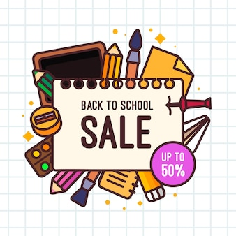 Back to school sales in flat design