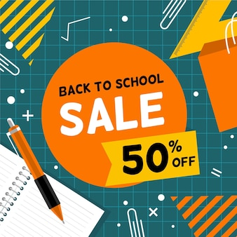 Back to school sales in flat design