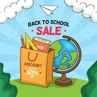 Ritorno a scuola disegno disegnato a mano di vendita