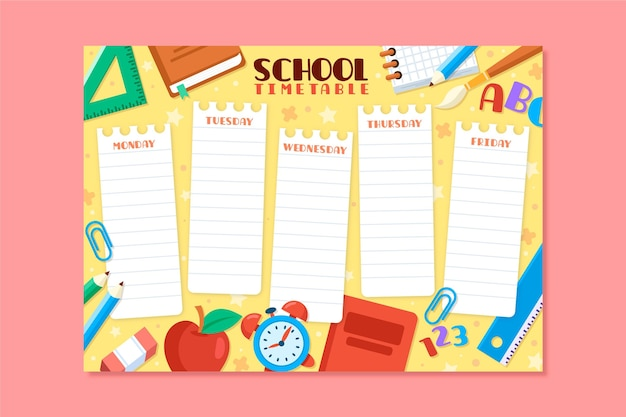 Back to school schedule flat design