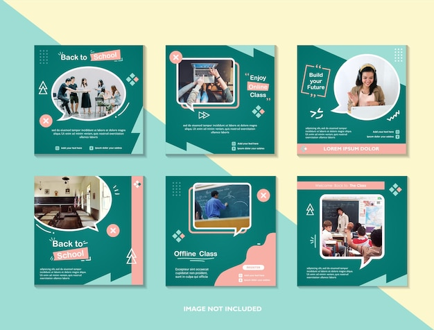 Back to school or school admission or education social media pack template and online class