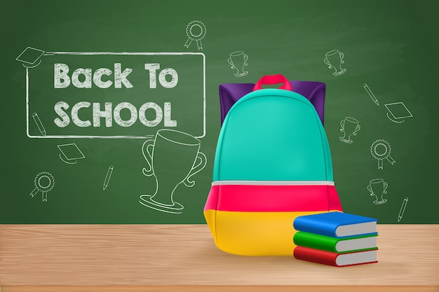 Back to school, school bag and books on wooden table