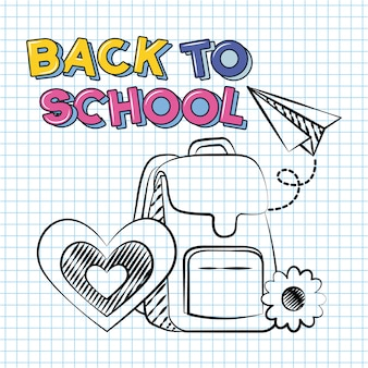 Back to school and school elements doodle illustration