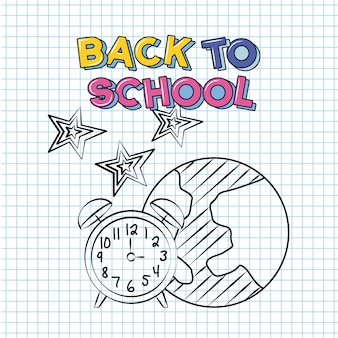 Back to school and school elements over notebook paper illustration