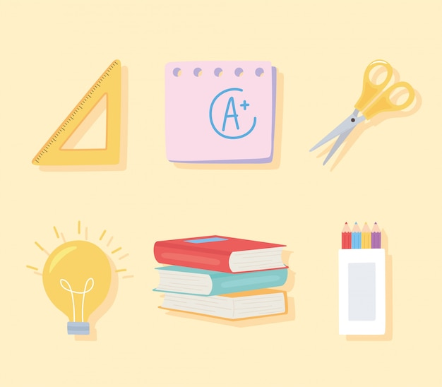 Back to school, scissors books ruler pencils color icons education cartoon background