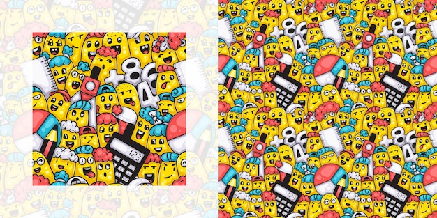 Back to school seamless doodle pattern of students with mathematical instruments