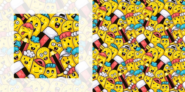 Back to school seamless doodle pattern of students with pencils and erasers