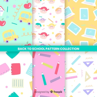 Back to school seamless pattern collection