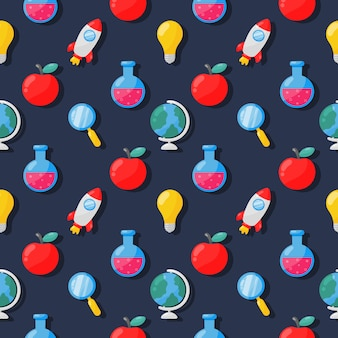 Back to school seamless pattern. school supplies. education items on blue .