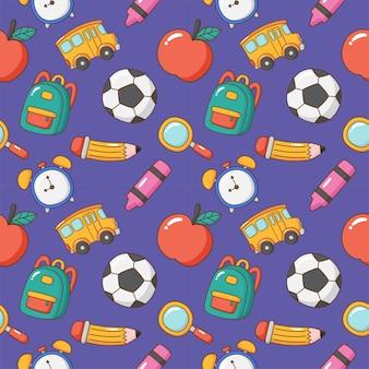Back to school seamless pattern school supplies education items on purple background vector illus