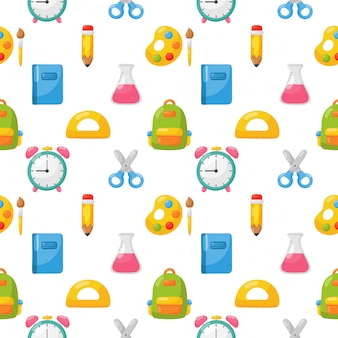 Back to school seamless pattern. school supplies. education items on white background.