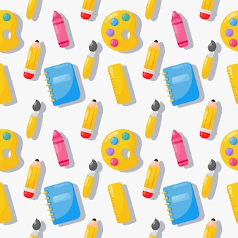 Back to school seamless pattern. school supplies. education items on white .