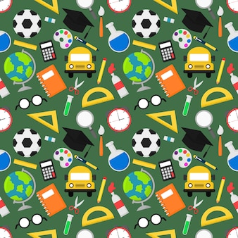 Back to school seamless pattern. school supplies. education items