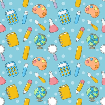 Back to school seamless pattern. school supplies. education