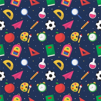 Back to school seamless pattern. school supplies