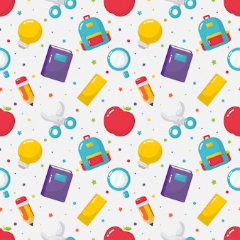 Back to school seamless pattern. school supplies.