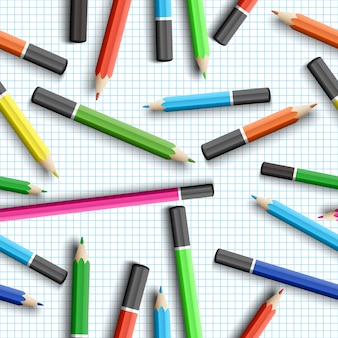Back to school seamless pattern with pencils