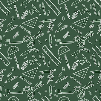 Back to school seamless pattern with school supplies.
