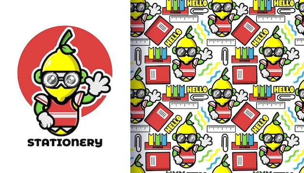 Back to school seamless pattern with stationery