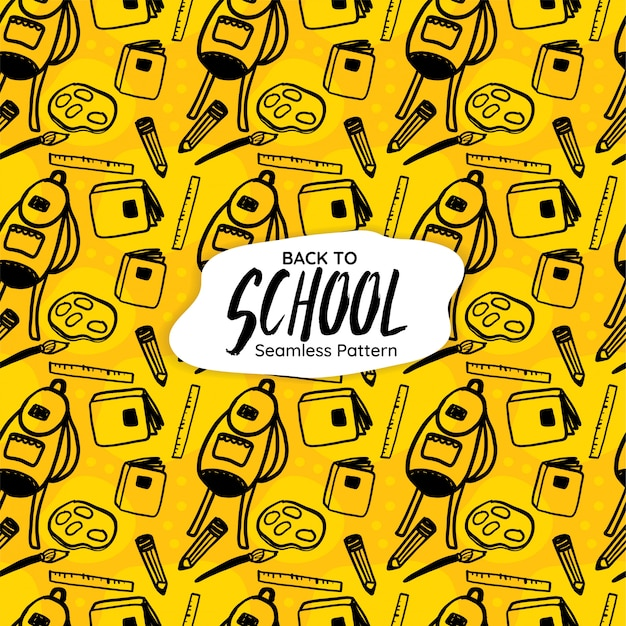 Back to school seamless pattern on yellow background