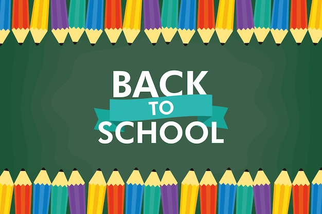 Back to school season with lettering and colors pencils vector illustration design
