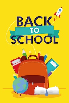 Back to school season with lettering and schoolbag vector illustration design