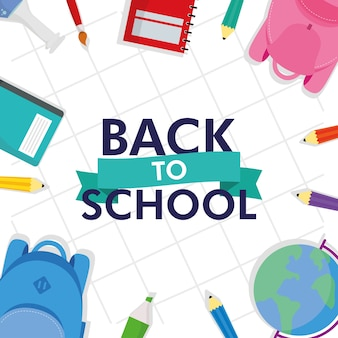 Back to school season with lettering and set supplies vector illustration design