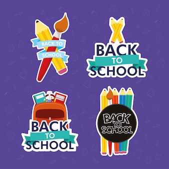 Back to school season with letterings and supplies vector illustration design