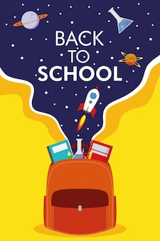 Back to school season with schoolbag and space icons vector illustration design