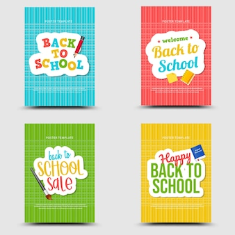 Back to school set banner cartoon