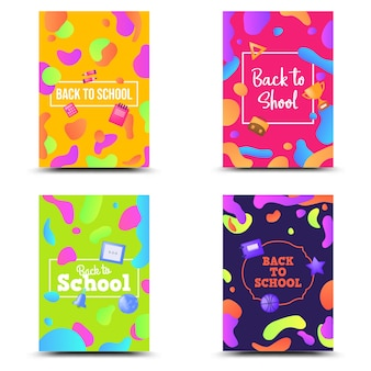 Back to school set banner colorful geometric