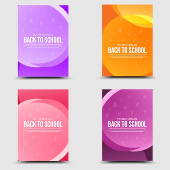Back to school set banner colorful