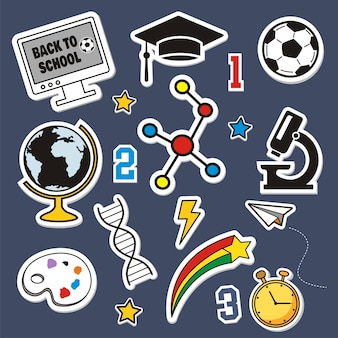 Back to school set of colorful stickers