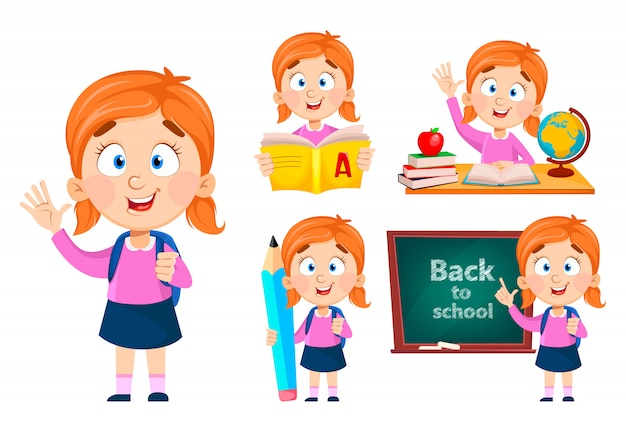 Back to school, set of five poses. cute girl