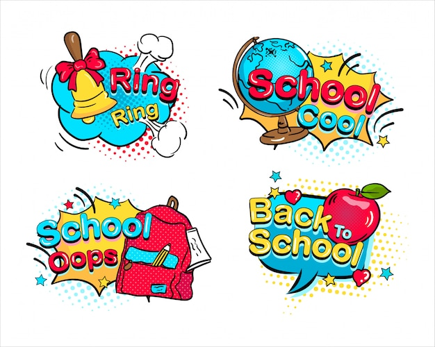 Back to school set hand drawn comics speech bubble dot