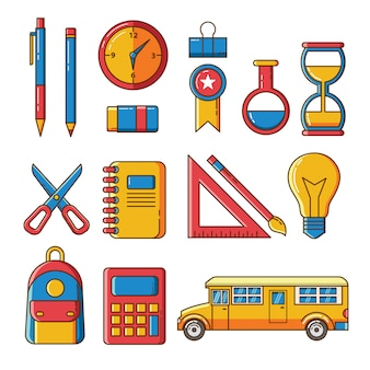 Back to school set icons and elements