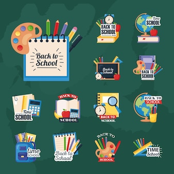 Back to school set icons on green