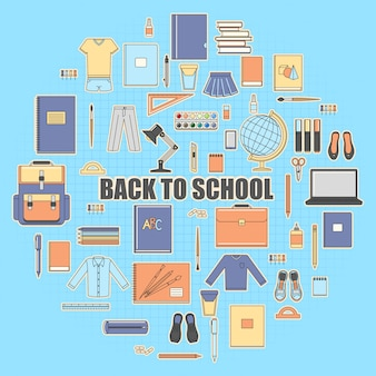 Back to school set icons