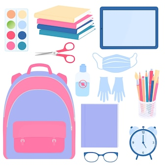 Back to school. set of pupils supplies.