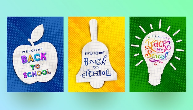 Back to school - set of vector greeting card, flyer or poster.
