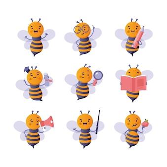 Back to school set with cute cartoon bee
