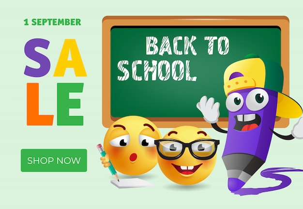 Back to school, shop now banner design with cartoon pencil