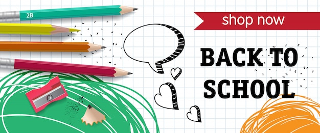 Back to school, shop now lettering with pencils and sharpener