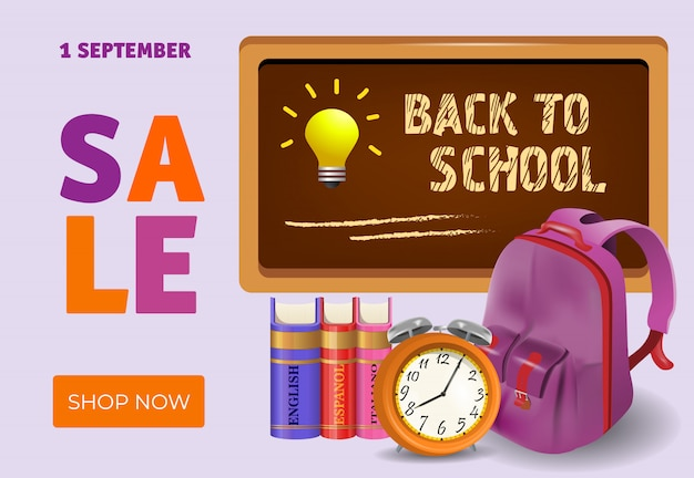 Back to school, shop now sale leaflet design with books