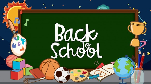 Back to school sign with many school items and space