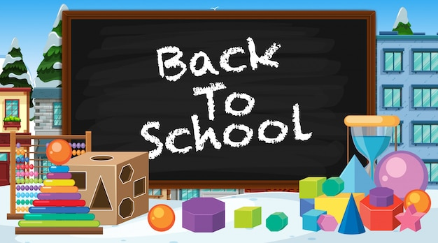 Back to school sign with many school items