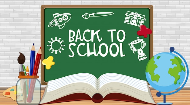 Back to school sign with stationeries on the floor