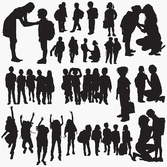 Back to school silhouettes set